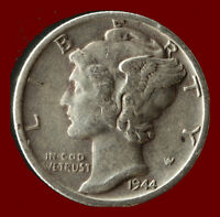 1944 D MERCURY 90 SILVER DIME SHIPS FREE. BUY 5 FOR $2 OFF