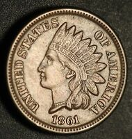 1861 INDIAN HEAD CENT   WITH LIBERTY & DIAMONDS   XF EF   W STRIKE DOUBLING ON 6