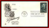 1956 US HARVEY W WILEY ARTCRAFT FDC FIRST DAY COVER