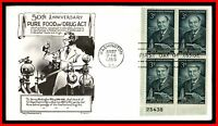 1956 US HARVEY W WILEY DAY LOWRY BL PLATE BLOCK 25438 FDC FIRST DAY COVER