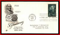 1956 US HARVEY W WILEY ARTCRAFT ADDRESSED FDC FIRST DAY COVER