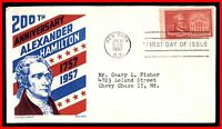 1957 US ALEXANDER HAMILTON KEN BOLL FDC FIRST DAY COVER