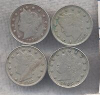 LOT OF FOUR DIFFERENT  FINE. V NICKELS 1905, 1907, 1908 & 1912.  VF