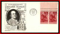1956 BENJAMIN FRANKLIN DAY LOWRY PAIR FDC FIRST DAY COVER