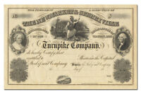 NEWMARKET & SPERRYVILLE TURNPIKE COMPANY STOCK CERTIFICATE 1800'S