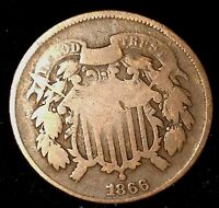 1866 2C COPPER TWO CENT PIECE AWH  SHIPS FREE & HANDLING