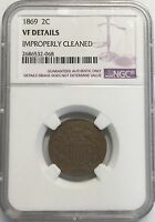 1869 2C TWO CENT PIECE NGC VF DETAILS