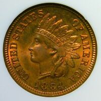 MS65 RB 1884 INDIAN CENT