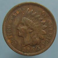 1905 INDIAN HEAD CENT   SHARP BROWN AU WITH A HINT OF MINT RED