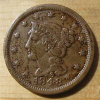 1848 BRAIDED HAIR LARGE CENT   NICE DETAILS AND PATINA