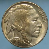 1938 D BUFFALO NICKEL   NICELY TONED AND CLOSE TO GEM BU