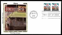 US 1998 COLORANO SILK  DINER COIL PAIR DINER FDC FIRST DAY COVER