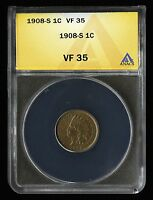 1908 S US 1C INDIAN HEAD ONE CENT TYPE COIN CHOICE FINE ANACS VF 35 NQ PQ