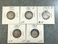 LOT OF 5   90 SILVER   1951   1961 D   1962 D  1964  1964 ROOSEVELT DIMES