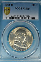 1961 D FRANKLIN HALF DOLLAR PCGS MS65  EXCEPTIONAL SURFACES PQ FOR THE GRADE