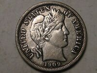 1909 SILVER BARBER DIME   LIBERTY IN HEADBAND   NICE COIN   12 PHOTOS  B