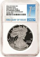 2016 W SILVER EAGLE PF70 NGC 1ST DAY UC LETTERED EDGE 30 ANN WHITE CORE