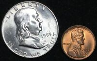1953 D 50C FRANKLIN HALF DOLLAR WITH FREE 1953 D 1C LINCOLN WHEAT CENT