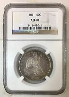 1871 SEATED LIBERTY HALF DOLLAR NGC AU50 REV TYE'S COIN STACHE 3011192