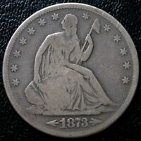 1873 S 50C SEATED LIBERTY HALF DOLLAR WITH ARROWS VG/F TOUGH DATE LOW MINTAGE
