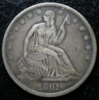 1861 O CSA SEATED LIBERTY HALF DOLLAR XF WB 104