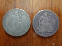 1858 O & 1860 O SEATED LIBERTY HALF DOLLAR GOOD KEY DATE
