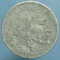 1924 D BUFFALO NICKEL   EF DETAILS WITH LARGE OBVERSE LAMINATION