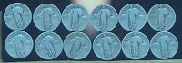 LOT OF 12 1927 VG STANDING LIBERTY SILVER QUARTER DOLLAR COINS.