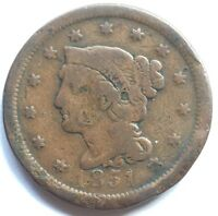 1851 BRAIDED HAIR LARGE CENT COIN OLD US COIN