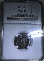 1908 S NGC AU 53 BN BROWN INDIAN HEAD CENT   CSTCOINS