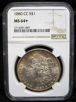 1880 CC $1 MORGAN SILVER DOLLAR NGC MS64 CARSON CITY