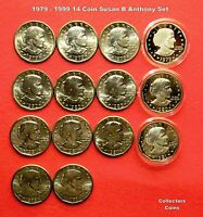 1979 1980 1981 1999  $1 SUSAN B ANTHONY DOLLAR 14 COIN P D S S UNCIRC/PROOF SET