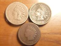 3 INDIAN CENT, PENNYS, 1859, 1862, 1865, CIRCULATED CONDITION, SKU 7187