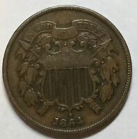 1864 2 CENT TWO CENT PIECE WITH  DIE CRACK / BREAK ON REVERSE  PIECE