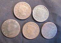 LOT OF 5 LARGE CENTS   2X 1848 1844 182? UNREADABLE   WITH ISSUES