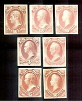 SEVEN US WAR DEPARTMENT OFFICIAL CARD PROOFS
