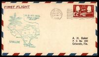 MAYFAIRSTAMPS US UVALDE TX NOV 10 1948 FIRST FLIGHT AM 82 AIR MAIL COVER W/ BROW