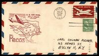 MAYFAIRSTAMPS US PECOS TX AUG 10 1950 FIRST FLIGHT AM 82 AIR MAIL COVER W/ EL PA