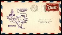 MAYFAIRSTAMPS US HOUSTON TX OCT 11 1947 FIRST FLIGHT AM 82 AIRMAIL COVER W/ SAN