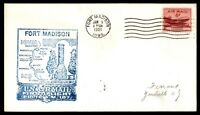 MAYFAIRSTAMPS US FORT MADISON IOWA JAN 9 1951 FIRST FLIGHT AM 107 AIR MAIL COVER