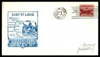 MAYFAIRSTAMPS US EAST ST LOUIS IL NOV 6 1950 FF AM 107 AIR MAIL COVER W/ MOLINE