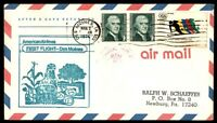 MAYFAIRSTAMPS US DES MOINES IOWA MAR 2 1976 FIRST FLIGHT CACHET ON AIR MAIL COVE