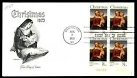 MAYFAIRSTAMPS US WA DC NOV 7 1973 CHRISTMAS BABY JESUS FDC SC 1507 PLATE NUMBER