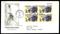 MAYFAIRSTAMPS US CA FEB 28 1975 PIONEER SPACE PROBE CACHET ON FDC SC 1556 PLATE