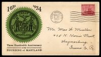 MAYFAIRSTAMPS US BALTIMORE MARYLAND 1934 FOUNDING FDC FIRST DAY COVER GREEN & BL