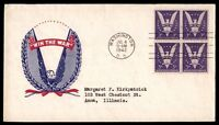 MAYFAIRSTAMPS US WIN THE WAR PATRIOTIC 1942 FDC FIRST DAY COVER 3C BLOCK