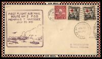 MAYFAIRSTAMPS US MEMPHIST TN 1931 FIRST FLIGHT COVER TO OMAHA NEBRASKA