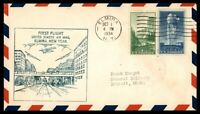 MAYFAIRSTAMPS US ELMIRA NEW YORK 1934 FIRST FLIGHT COVER TO DETROIT MICHIGAN