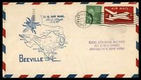MAYFAIRSTAMPS US BEEVILLE TEXAS 1950 FIRST FLIGHT COVER TO SAN ANTONIO AM82