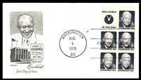 MAYFAIRSTAMPS US 1970 PRES. EISENHOWER BOOKLET ART MASTER CACHET FIRST DAY COVER